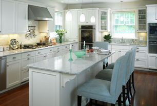 Traditional Kitchen with Subway Tile, Wall Hood, Simple granite counters, Glass panel, built-in microwave, Flush, dishwasher