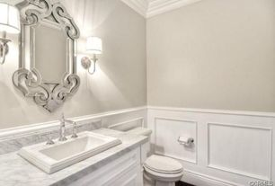 Traditional Powder Room with Wall sconce, Wainscoting, drop-in sink, Wainscotting, Flat panel cabinets, Ceiling molding