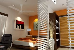 Modern Master Bedroom with Concrete floors, specialty window, Ceiling fan, Paint 2, can lights, Standard height, Paint 1