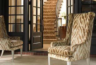 Traditional Entryway with Narrow black french door, limestone tile floors, French doors, Porcelain floor, Standard height
