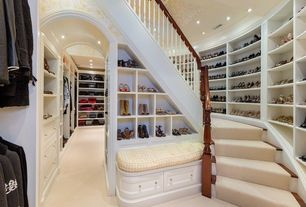 Traditional Closet with Open archway, Carpet, Under stair storage, Crown molding, Shoe storage, interior wallpaper