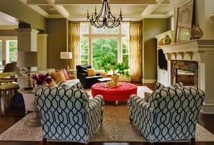 Traditional Living Room with Box ceiling, Chandelier, Crown molding, Hardwood floors