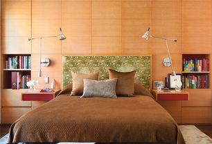 Contemporary Master Bedroom with bedroom reading light, Standard height, Built-in bookshelf, Hardwood floors