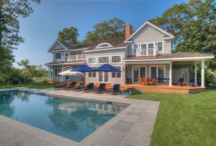 Craftsman Swimming Pool with Other Pool Type, Casement, French doors, exterior stone floors, double-hung window, Fence