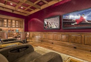 Traditional Home Theater with Built-in bookshelf, Wainscotting, Box ceiling, Hardwood floors, High ceiling, Crown molding