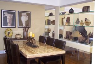 Eclectic Dining Room with Pottery Barn Grayson Side Chair, Built-in bookshelf, Laminate floors