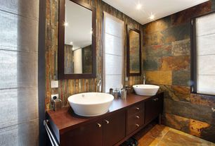 Rustic Master Bathroom with Hartley Wall Mirror, Slate Tile, Toto alexis vessel bathroom sink with sanagloss glazing, Flush