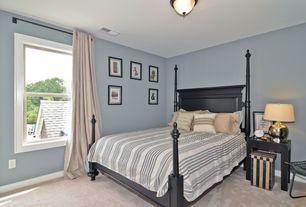 Modern Guest Bedroom with Carpet, flush light