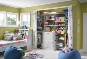 Contemporary Kids Bedroom with Louvered door, Built-in bookshelf, Carpet, Crown molding