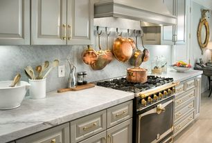 Traditional Kitchen with One-wall, Complex Marble, Crown molding, specialty door, Innovato polished marble counter tops