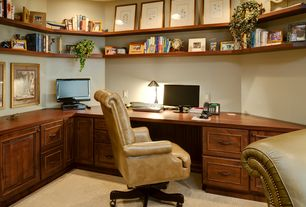 Traditional Home Office with Built-in bookshelf, can lights, Standard height, Carpet