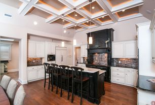 Traditional Kitchen with U-shaped, Pendant light, Breakfast bar, Complex marble counters, High ceiling, Painted cabinets
