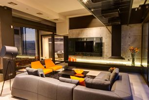 Contemporary Living Room with insert fireplace, can lights, specialty window, Concrete floors, Fireplace, French doors
