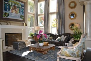 Eclectic Living Room with Columns, High ceiling, Laminate floors