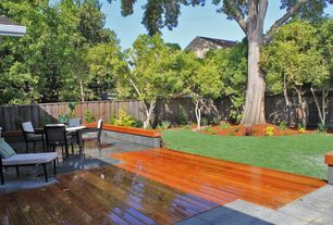 Contemporary Deck with Pathway, exterior stone floors, Fence
