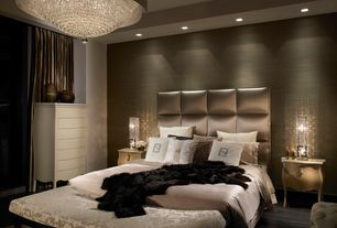 Contemporary Master Bedroom with interior wallpaper, Hardwood floors, Chandelier, Wall paper