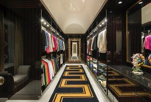 Contemporary Closet with Built-in bookshelf, flush light, Carpet, Small Wishbone Light Head for Juno Track in Silver