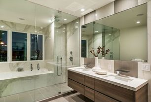 Contemporary Master Bathroom with Stone Tile, Master bathroom, Corian counters, European Cabinets, Undermount sink, Flush