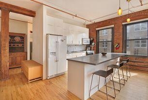 Contemporary Kitchen with full backsplash, Breakfast bar, Standard height, built-in microwave, gas range, dishwasher, Paint 1