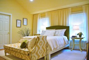 Traditional Guest Bedroom with Pottery barn raleigh upholstered camelback bed, Standard height, six panel door, can lights