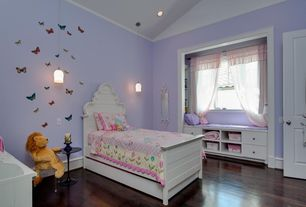 Country Kids Bedroom with Pendant light, Laminate floors, Mural, Window seat