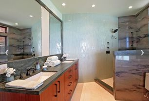 Contemporary Master Bathroom with Double sink, Flush, European Cabinets, Undermount sink