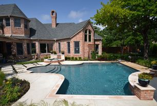 Swimming Pool with Arched window, Other Pool Type, Trellis, Casement, double-hung window, exterior stone floors, Pathway