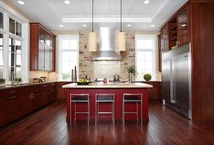 Contemporary Kitchen with Breakfast bar, U-shaped, Pendant light, Glass panel, Flush, Flat panel cabinets, Kitchen island