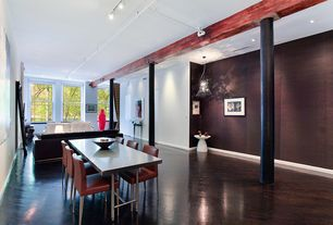 Contemporary Great Room with Exposed beam, Columns, Hardwood floors, flush light, Standard height, can lights