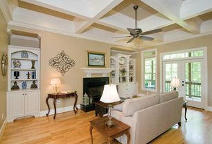 Traditional Living Room with Seabury upholstered grand sofa, down-blend wrapped cushions, brushed canvas natural, Ceiling fan