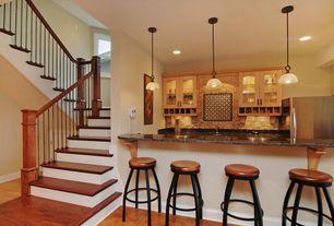 Craftsman Bar with Built-in bookshelf, Feiss kinsey 1 light mini pendant, Pendant light, sandstone floors