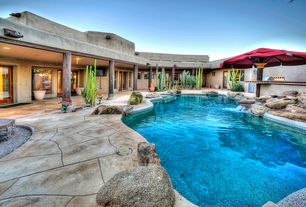 Rustic Swimming Pool with Fountain, Fence, exterior stone floors, Outdoor kitchen, Pathway, French doors