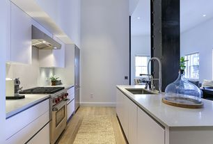 Contemporary Kitchen with gas range, Kitchen island, European Cabinets, Flush, can lights, Undermount sink, Columns, Paint
