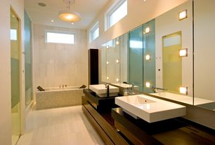 Contemporary Master Bathroom with wall-mounted above mirror bathroom light, Bathtub, Shower, Master bathroom, can lights