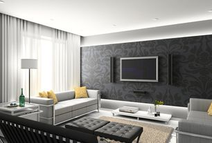 Contemporary Living Room with Sheer curtains, Norwall Grey Black and White 2 Large Scale Medallion Wallpaper, Cove lighting