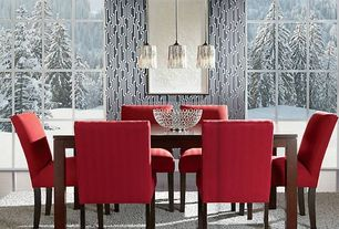 Contemporary Dining Room with Pendant light, interior wallpaper, Laminate floors