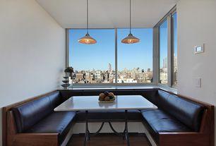 Contemporary Dining Room with Pendant light, Laminate floors, Walnut stain finish, Coolie mini pendant lights, Breakfast nook