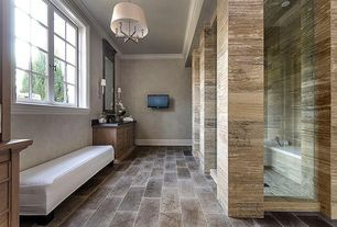 Traditional Master Bathroom with stone tile floors, Arizona tile, DAINO REALE, Marble, partial backsplash, Master bathroom
