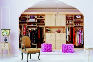 Contemporary Closet with Crown molding, Carpet, Cabinet, Built-in bookshelf, Queen anne style arm chair, Chandelier