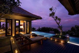 Tropical Deck with Infinity pool, Wood plank deck, Raised beds