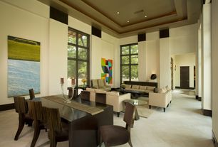Contemporary Great Room with High ceiling, sandstone tile floors