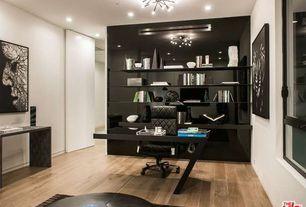 Modern Home Office with Hardwood floors, flush light, Nourison urban safari mahogany area rug, Built-in bookshelf