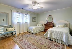 Traditional Guest Bedroom with Hardwood floors, Pottery Barn Raleigh Upholstered Camelback Bed & Headboard, Ceiling fan