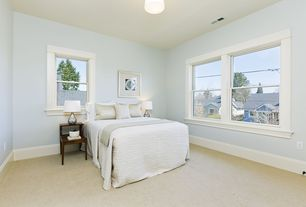 Traditional Guest Bedroom with Carpet, flush light