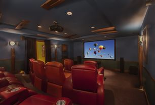 Rustic Home Theater with Wall sconce, Projector, Standard height, can lights, Trey ceiling, Carpet, Built-in bookshelf