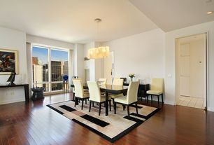 Contemporary Dining Room with Standard height, picture window, Hardwood floors, Chandelier