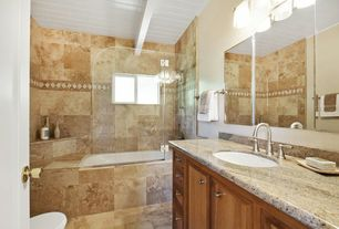 Traditional Full Bathroom with Handheld showerhead, Ice Brown, Complex granite counters, Undermount sink, Exposed beam, Flush