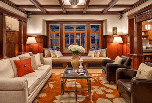 Craftsman Living Room with flush light, Carpet, Window seat, Wainscotting, Crown molding, Box ceiling, Columns