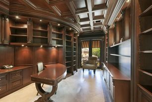 Traditional Home Office with Built-in bookshelf, French doors, Box ceiling
