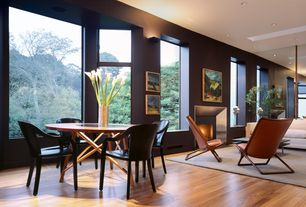 Contemporary Great Room with Fireplace, Cement fireplace, specialty window, Laminate floors, can lights, picture window